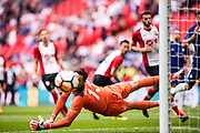 Southampton (13) Alex McCarthy, dices to make a save from a shot during the The FA Cup match between Chelsea and Southampton at Wembley Stadium, London, England on 22 April 2018. Picture by Sebastian Frej.