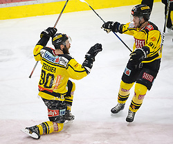 20.03.2018, Tiroler Wasserkraft Arena, Innsbruck, AUT, EBEL, HC TWK Innsbruck  die Haie vs Vienna Capitals, Playoff Viertelfinale, 6. Spiel, im Bild Torjubel nach dem 3:3 durch Kelsey Tessier (Vienna Capitals) // during the Erste Bank Erste Bank Icehockey 6th round quarterfinal playoff match between HC TWK Innsbruck  die Haie and Vienna Capitals at the Tiroler Wasserkraft Arena in Innsbruck, Austria on 2018/03/20. EXPA Pictures © 2018, PhotoCredit: EXPA/ Jakob Gruber