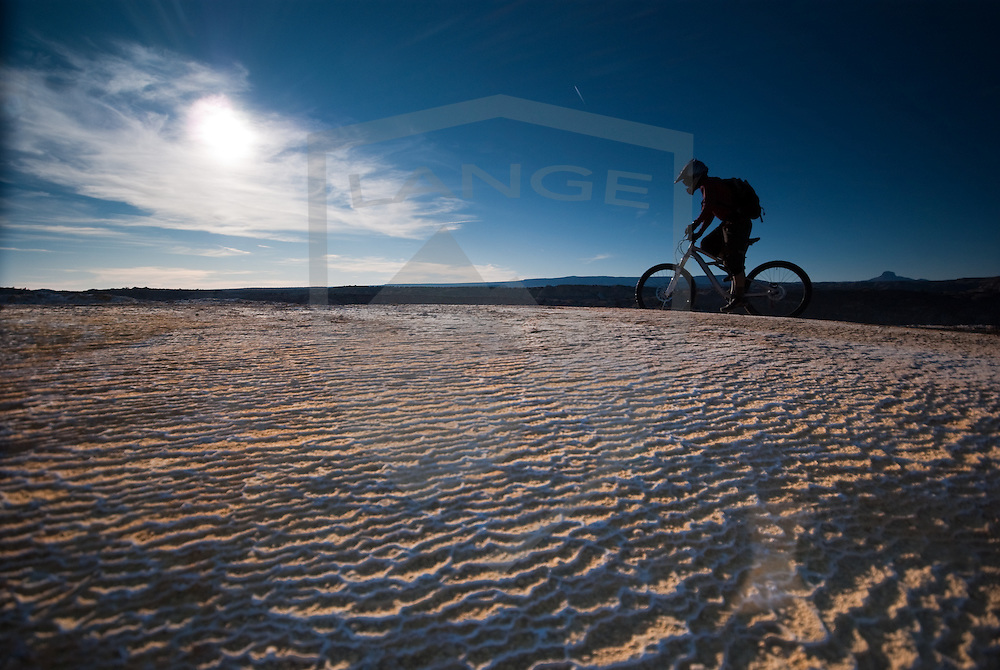 mountain biker cross country riding at the white mesa trails, new mexico.