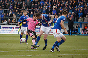 Carlisle United Defender Michael Raynes making a vital tackle on Northampton Town Striker Ricky Holmes during the Sky Bet League 2 match between Carlisle United and Northampton Town at Brunton Park, Carlisle, England on 5 March 2016. Photo by Craig McAllister.