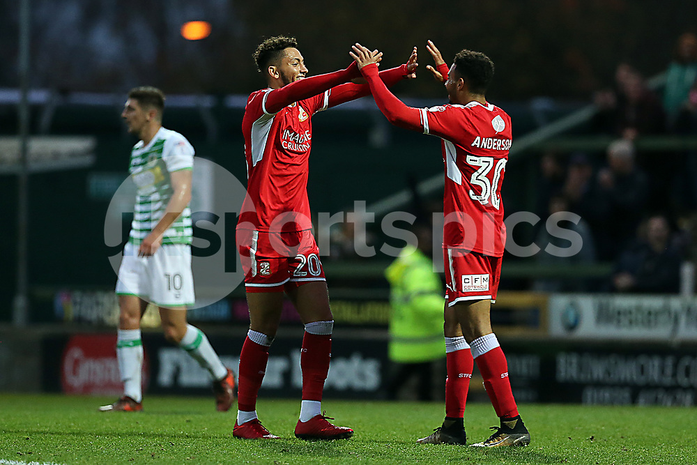 Kellan Gordon 20 of Swindon Town celebrates equalising  during the EFL Sky Bet League 2 match between Yeovil Town and Swindon Town at Huish Park, Yeovil, England on 18 November 2017. Photo by Dave Peters.