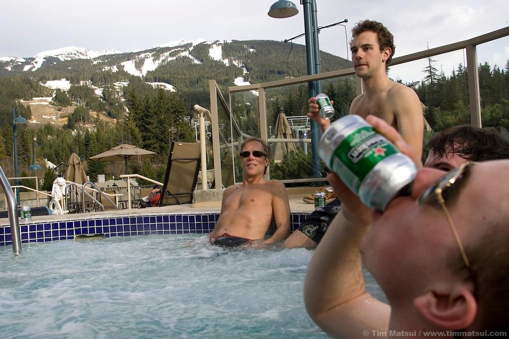 Hot tub at the Pan Pacific Hotel at Whistler-Blackcomb ski resort in British Columbia, Canada.