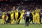The Los Angeles Rams leap while trying to block a San Francisco 49ers fourth quarter field goal that cuts the Rams lead to 41-33 during the 2017 NFL week 3 regular season football game against the San Francisco 49ers, Thursday, Sept. 21, 2017 in Santa Clara, Calif. The Rams won the game 41-39. (©Paul Anthony Spinelli)