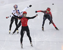 PYEONGCHANG, Feb. 22, 2018  Wu Dajing of China (2nd R) celebrates victory in men's 500m final of short track speed skating at the 2018 PyeongChang Winter Olympic Games at Gangneung Ice Arena, Gangneung, South Korea, Feb. 22, 2018. Wu Dajing claimed gold medal in a time of 0:39.584 and set new world record. (Credit Image: © Fei Maohua/Xinhua via ZUMA Wire)
