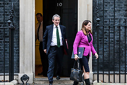 © Licensed to London News Pictures. 09/01/2018. London, UK. Education Secretary Damian Hinds (L) and Minister of State for Immigration Caroline Noakes (R) leave 10 Downing Street after the first meeting of the Cabinet after Prime Minister Theresa May's reshuffle. Photo credit: Rob Pinney/LNP