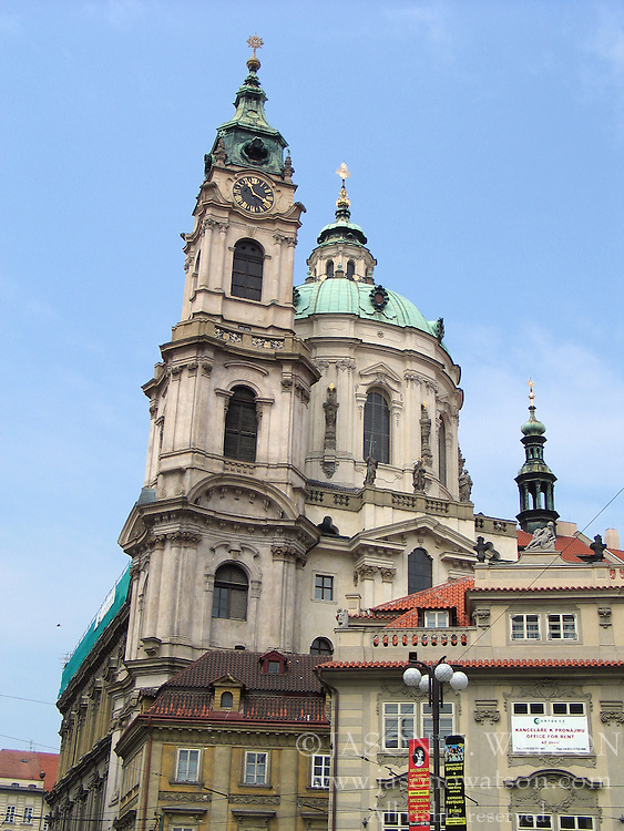 View of the dome and tower of St Nicolas Cathedral, Prague, Bohemia, Czech Republic