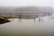 Missouri MO USA, Mark Twain Lake off highway US-24 in the fog