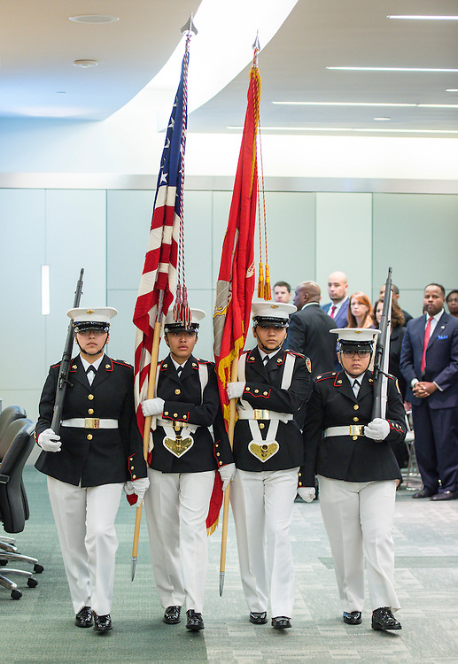 Members of the Energized for STEM Academy High School color guard post colors before swearing in ceremonies for newly elected Houston ISD trustees, January 14, 2016.