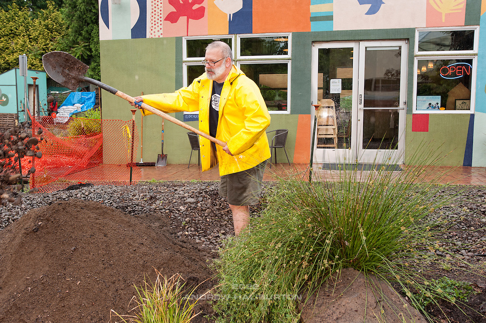 Paul Leistner volunteers at the rain garden work meet, Café au Play at Tabor Commons, a project of the Southeast Uplift Neighborhood Coalition (SEUL) and volunteers from Portland's Mt Tabor neighborhood.