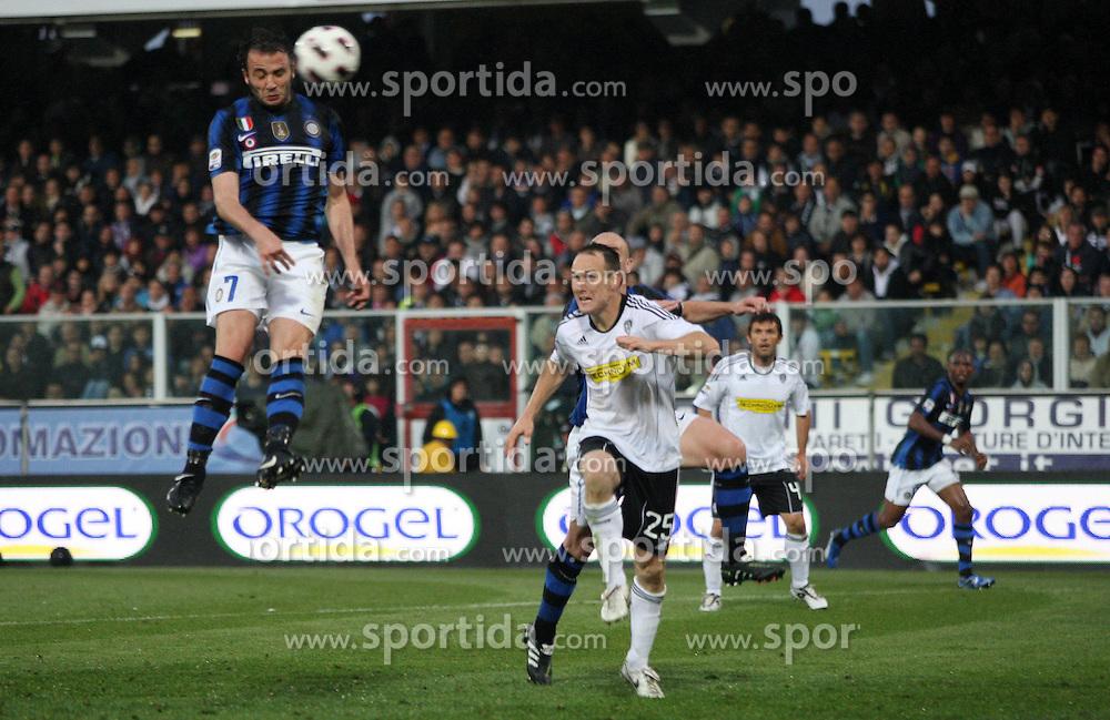 """30.04.2011, Stadio Dino Manuzzi, Cesena, ITA, Serie A, AC Cesena vs Inter Mailand, im Bild IL GOL DEL 2-1 DI GIAMPAOLO PAZZINI (INTER).Giampaolo Pazzini scores goal of 1-2.Cesena 30/04/2011 Stadio """"Dino Manuzzi"""".Campionato Italiano Serie A 2010/2011.Cesena Vs Inter.. EXPA Pictures © 2011, PhotoCredit: EXPA/ InsideFoto/ Luca Pagliaricci +++++ ATTENTION - FOR AUSTRIA/AUT, SLOVENIA/SLO, SERBIA/SRB an CROATIA/CRO CLIENT ONLY +++++"""