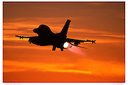 F-16D at sunset in full afterburner