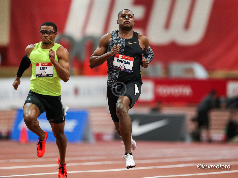 2020 USATF Indoor Championship<br /> Albuquerque, NM 2020-02-14<br /> photo credit: © 2020 Kevin Morris<br /> mens 60m heats, Nike