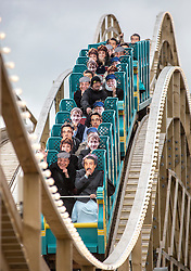 @Licensed to London News Pictures 15/10/15. Margate, Kent. Staff members wearing masks of characters from the TV series Only Fools and Horses ride the sceneic railway. Members of the Press, employees and prize winners ride the Dreamland Margate's Scenic Railway and Britains original roller coaster as it re-opens today 15/10/15. The restoration and final opening of the Scenic Railway marks the completion of the Dreamland Amusement Park largely supported by a grant of almost £6m form the Heritage Lottery Fund. Photo credit: Manu Palomeque/LNP