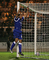 Photo: Lee Earle.<br /> Plymouth Argyle v Cardiff City. Coca Cola Championship. 12/09/2006. Cardiff's Michael Chopra celebrates scoring their third.