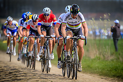 World Champion Peter Sagan (SVK) Tinkoff, Fabian Cancellara (SUI) Trek-Segafredo and Niki Terpstra (NED) Etixx-Quick Step tackle pave sector 11 Auchy-lez-Orchies a Bersee during the 114th edition of  Paris Roubaix 2016 race running 255.5km from Compiegne to Roubaix, France. 10th April 2016.<br /> Photo by Eoin Clarke / PelotonPhotos.com<br /> <br /> All photos usage must carry mandatory copyright credit (&copy; Peloton Photos | Newsfile | Eoin Clarke)