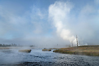 Fog and geyser steam along the Firehole River, Yellowstone National Park