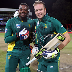 Andile Phehlukwayo of South Africa with David Miller of South Africa during the 3rd ODI match between South Africa and Australia held at Kingsmead Stadium in Durban, Kwazulu Natal, South Africa on the 5th October  2016<br /> <br /> Photo by: Steve Haag/ RealTime Images