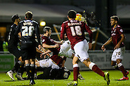 Zander Diamond of Northampton Town (centre) executes an overhead kick during the Sky Bet League 2 match at Sixfields Stadium, Northampton<br /> Picture by Andy Kearns/Focus Images Ltd 0781 864 4264<br /> 14/11/2015