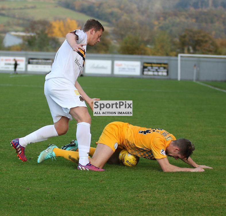 Scott Brown fouls during the Dumbarton FC v Morton FC Scottish Championship 31 October 2015 <br /> <br /> (c) Andy Scott | SportPix.org.uk