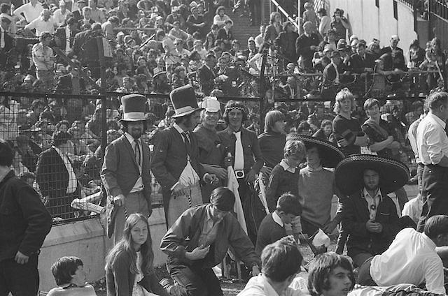 Dressed up supporters enjoying the All Ireland Senior Hurling Final, Cork v Kilkenny in Croke Park on the 3rd September 1972. Kilkenny 3-24, Cork 5-11.