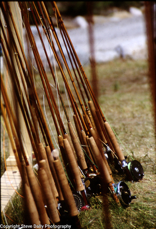 A rack of Bamboo fly rods as a Can Rod builders gather in Grayling, Michigan.<br /> The collection includes Leonards, Paynes, and other famous makers