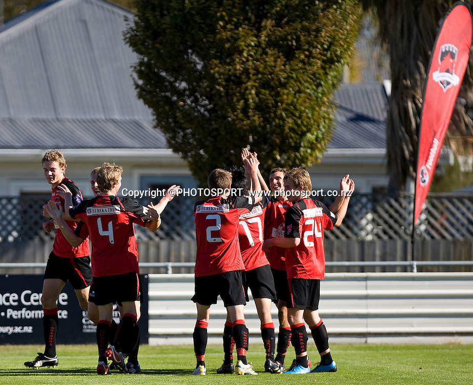 Canterbury United team members celebrate the goal by their captain Ben Harris. Lion Foundation Youth League Final, Canterbury United v Waitakere United, English Park, Christchurch, Sunday 11 April 2010. Photo : Joseph Johnson/PHOTOSPORT