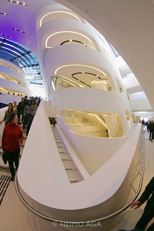 Vienna, Austria. Opening Day of the new WU Campus (University of Economics).<br /> LC (Learning Center) by Zaha Hadid Architects, Hamburg.