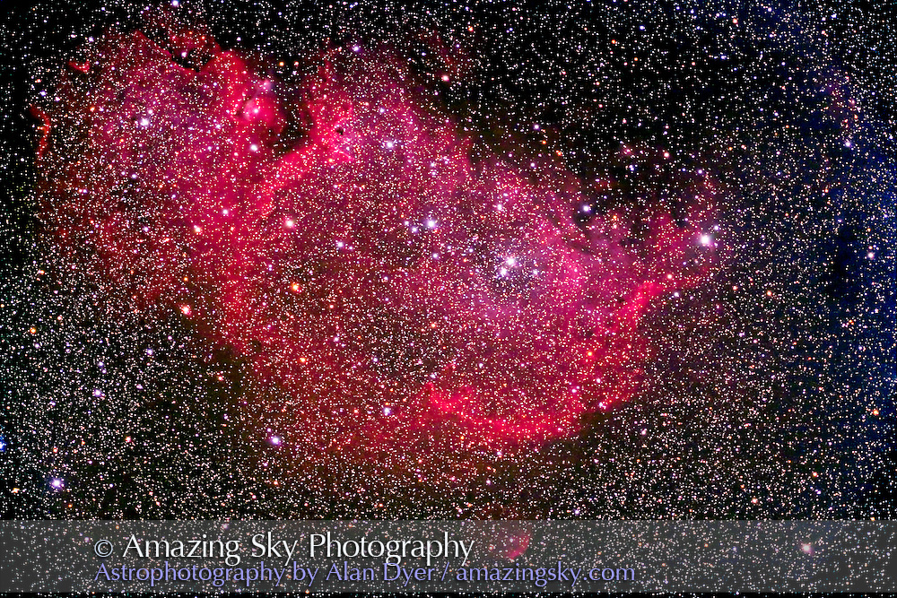 IC 1848 Nebulosity in Cassiopeia, with AP 5-inch apo refractor at f/6 and field flattener, and Hutech-modified Canon 5D camera, at ISO400 for stack of 4 x 16 minute exposures. Taken from home Dec. 16, 2006.
