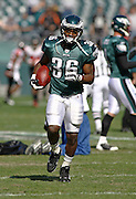Running back Brian Westbrook runs with the ball before the game between the Philadelphia Eagles and the Atlanta Falcons at Lincoln Financial Field in Philadelphia, Pennsylvania on October 26, 2008.