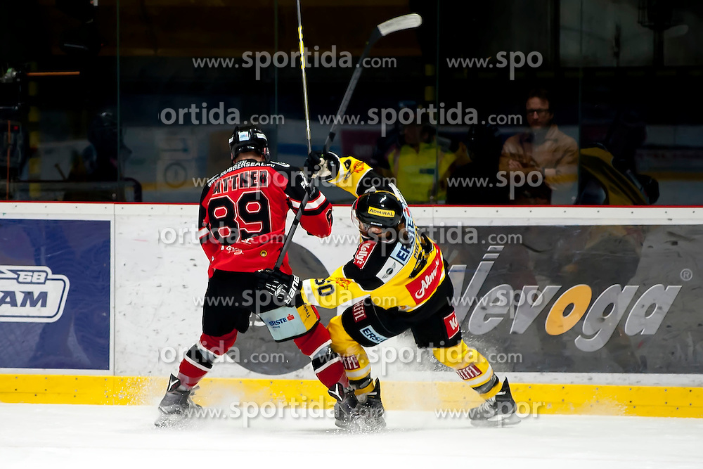 11.10.2015, Ice Rink, Znojmo, CZE, EBEL, HC Orli Znojmo vs UPC Vienna Capitals, 10. Runde, im Bild v.l. Jan Lattner (HC Orli Znojmo) Mario Fischer (UPC Vienna Capitals) // during the Erste Bank Icehockey League 10th round match between HC Orli Znojmo and UPC Vienna Capitals at the Ice Rink in Znojmo, Czech Republic on 2015/10/11. EXPA Pictures © 2015, PhotoCredit: EXPA/ Rostislav Pfeffer