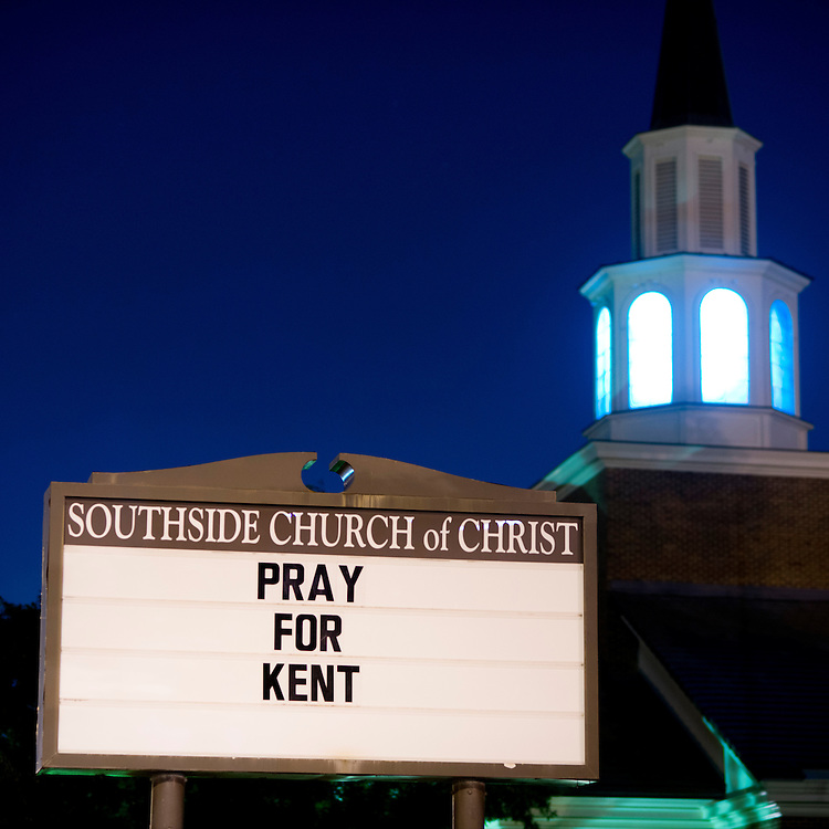 A sign in front of Southside Church of Christ in Fort Worth, Texas encourages prayer for Dr. Kent Brantly, a church member who is being treated for the Ebola virus he was helping contain in Libia on July 30, 2014. (Cooper Neill / for Daily Mail)