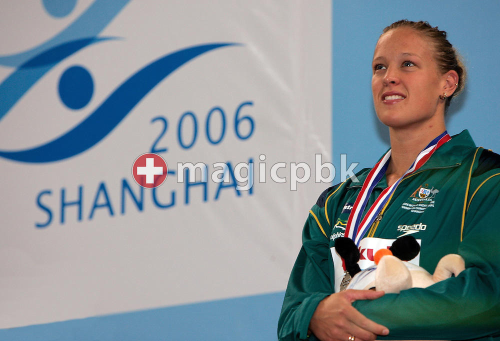 Tayliah ZIMMER of Australia wins the silver medal in the women's 100m Backstroke final during day two of the 8th FINA World Swimming Championships (25m) held at Qi Zhong Stadium April 6th, 2006 in Shanghai, China. (Photo by Patrick B. Kraemer / MAGICPBK)