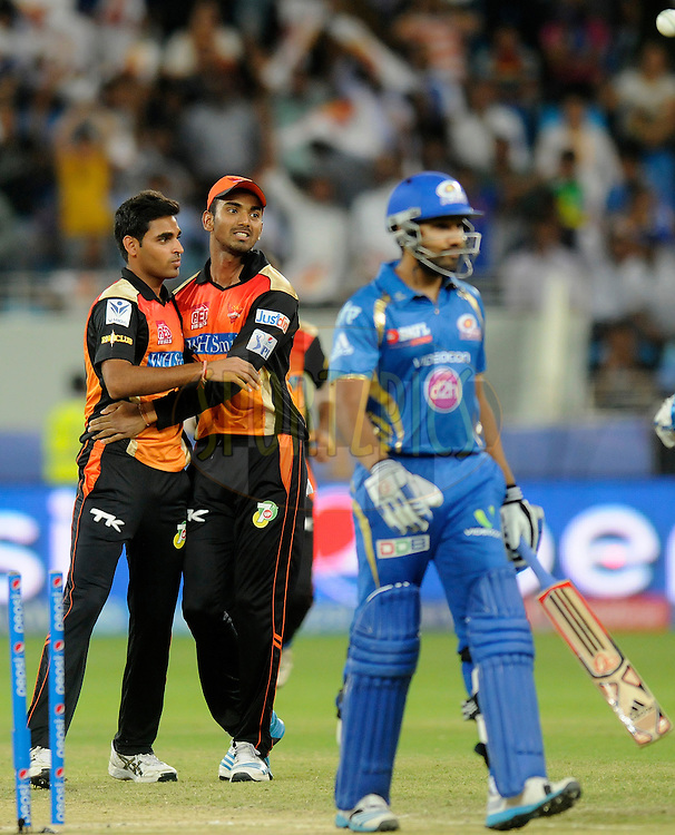 Bhuvneshwar Kumar of the Sunrisers Hyderabad celebrates the wicket of Rohit Sharma captain of of the Mumbai Indians during match 20 of the Pepsi Indian Premier League Season 2014 between the Mumbai Indians and the Sunrisers Hyderabad held at the Dubai International Stadium, Dubai, United Arab Emirates on the 30th April 2014<br /> <br /> Photo by Pal Pillia / IPL / SPORTZPICS