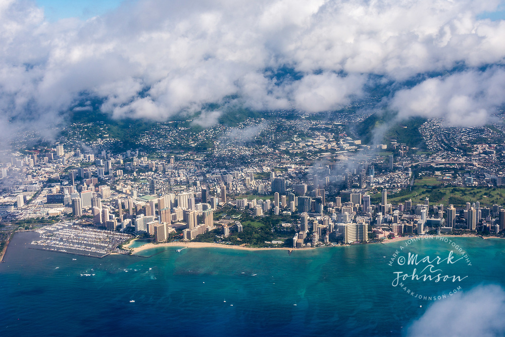 Aerial photograph of Waikiki Beach, Honolulu, Hawaii, USA