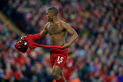 LIVERPOOL, ENGLAND - Sunday, October 7, 2018: Liverpool's Daniel Sturridge takes off his shirt to remove his under shirt during the FA Premier League match between Liverpool FC and Manchester City FC at Anfield. (Pic by David Rawcliffe/Propaganda)