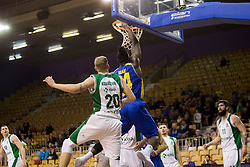 Maj Kovacevic of KK Krka and Staphon Javonnie Blair of KK Sencur GGD during basketball match between KK Krka and KK Sencur GGD in 1st Semifinal of Slovenian Spar Cup 2017/18, on February 16, 2018 in Sports hall Tivoli, Ljubljana, Slovenia. Photo by Urban Urbanc / Sportida
