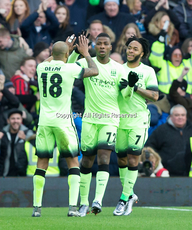 30.01.2016. Villa Park, Birmingham, England. Emirates FA Cup 4th Round. Aston Villa versus Manchester City. Manchester City striker Kelechi Iheanacho celebrates with his team mates after scoring the first goal in the 3rd minute.