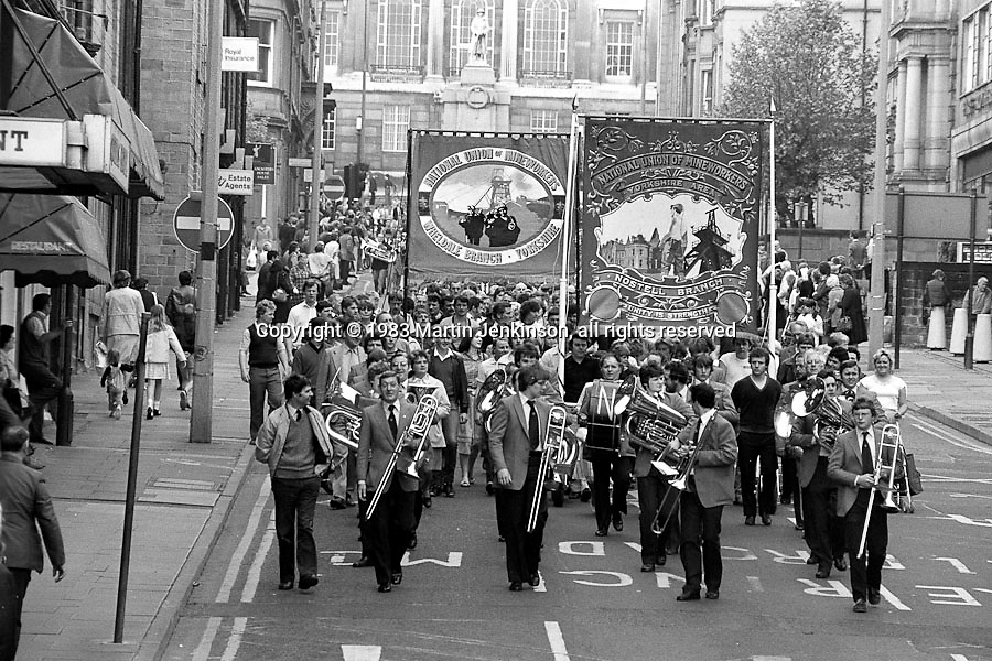 Nostell and Wheldale banners, 1983 Yorkshire Miner's Gala. Barnsley