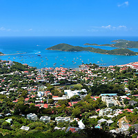Elevated View of Harbor and Charlotte Amalie, Saint Thomas <br />