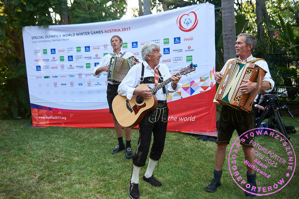 Orchestra welcome guests while Austria 2017 Reception during third day of the Special Olympics World Games Los Angeles 2015 on July 27, 2015 in Los Angeles, USA.<br /> USA, Los Angeles, July 27, 2015<br /> <br /> Picture also available in RAW (NEF) or TIFF format on special request.<br /> <br /> For editorial use only. Any commercial or promotional use requires permission.<br /> <br /> Adam Nurkiewicz declares that he has no rights to the image of people at the photographs of his authorship.<br /> <br /> Mandatory credit:<br /> Photo by &copy; Adam Nurkiewicz / Mediasport