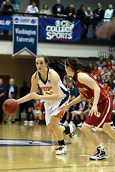 20 March 2010: Miranda DeKuiper pushes forward against Alex Hoover.The Flying Dutch of Hope College fall to the Bears of Washington University 65-59 in the Championship Game of the Division 3 Women's NCAA Basketball Championship the at the Shirk Center at Illinois Wesleyan in Bloomington Illinois.