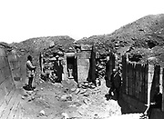 Excavations at the necropolis at Saqqara.  Photographed in 1860s during work of Auguste Mariette-Bey (1821-1881) French archaeologist and founder of the Egyptian Museum, Cairo in 1863, who began work at Saqqara in 1850.