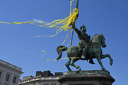 July 6, 2019 - Brussels, Belgium - Illustration picture shows the Godfrey of Bouillon (Godefroy de Bouillon - Godfried van Bouillon) statue, at the start of the first stage of the 106th edition of the Tour de France cycling race, 194,5km from and to Brussels, Belgium, Saturday 06 July 2019. This year's Tour de France starts in Brussels and takes place from July 6th to July 28th. (Credit Image: © David Stockman/Belga via ZUMA Press)