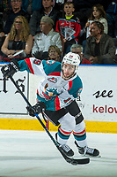 KELOWNA, CANADA - APRIL 25: Dillon Dube #19 of the Kelowna Rockets skates with the puck against the Seattle Thunderbirds on April 25, 2017 at Prospera Place in Kelowna, British Columbia, Canada.  (Photo by Marissa Baecker/Shoot the Breeze)  *** Local Caption ***
