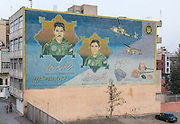 Mural commemorating martyrs of the Iran-Iraq war (1980-1988). The Martyr Pilots of IRI Army Aviation: Major-General Mansour VatanPour, Major-General Seyed Shahrokh Azin,