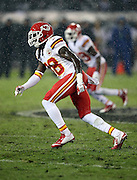 Kansas City Chiefs strong safety Ron Parker (38) chases the action in a driving rain during the NFL week 12 regular season football game against the Oakland Raiders on Thursday, Nov. 20, 2014 in Oakland, Calif. The Raiders won their first game of the season 24-20. ©Paul Anthony Spinelli