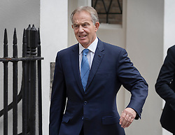 © Licensed to London News Pictures. 08/07/2016. London, UK. Former Prime Minister Tony Blair is seen leaving his office in the week that the Iraq Inquiry was published.  Photo credit: Peter Macdiarmid/LNP