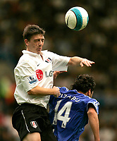 Chelsea v Fulham. Barclays Premier League. 29/09/2007. Chris Bird of Fulham and Claudio Pizarro of Chelsea heading for the ball