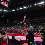 Koko Tsurumi, Japan, in action during the Gymnastics Artistic, Women's Apparatus, Uneven Bars Final at the London 2012 Olympic games. London, UK. 6th August 2012. Photo Tim Clayton