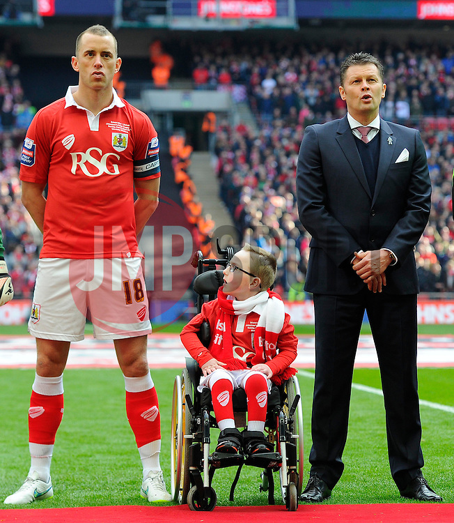 Oskar Pycroft  sings the national anthem with Bristol City manager, Steve Cotterill and Bristol City's Aaron Wilbraham  - Photo mandatory by-line: Joe Meredith/JMP - Mobile: 07966 386802 - 22/03/2015 - SPORT - Football - London - Wembley Stadium - Bristol City v Walsall - Johnstone Paint Trophy Final